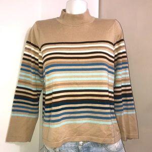 ALIA Vintage Striped Tan Ribbed Mock Neck Sweater